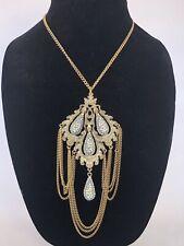 Rare Vintage Grand Signed Hattie Carnegie Goldtone Turquoise Rhinestone Necklace