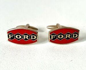 Vintage Rare Red & Black Enamel FORD Car Cufflinks - In Gift Box