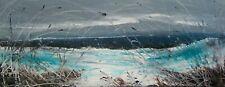 Coastal Grasses, Sea / Landscape Art. Original Acrylic Painting On Canvas.