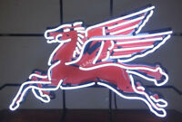 RARE New Pegasus Flying Horse Mobil Gas Oil Pump Station REAL NEON SIGN LIGHT