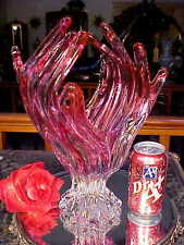 RARE Handmade MAUVE PINK 2 CLEAR Glass Vase HAND w OPEN FINGERS Murano Italy!