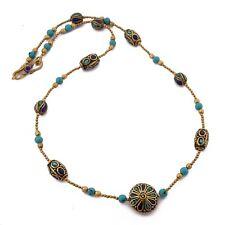 "Turquoise Lapis Brass Necklace 24"" Tibetan Nepalese Handmade Nepal N2447"