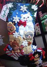 """Bucilla """"CHRISTMAS KITTIES"""" Cat Kitten Felt Stocking Kit New OOP VERY RARE PET"""
