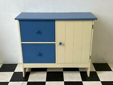 Modern blue and white painted sideboard cabinet with two deep drawers - Delivery