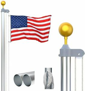 KOOV 20FT Sectional Flagpole Kit - Heavy Duty Gold Ball Halyard Pole, In ground