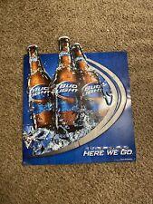 """Bud Light Beer """"Here We Go"""" Bottle Anheuser Busch Blue Metal Tin Sign"""