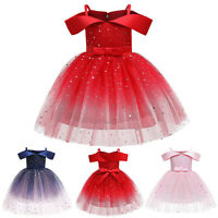 Toddler Kids Girls Princess Pageant Gown Christmas Party Paillette Wedding Dress