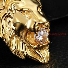 Cool Stainless Steel 18K Gold Mens Lion  Pendant Necklace White Stone