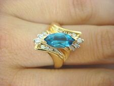 14K BLUE TOPAZ AND BAGUETTE DIAMONDS BEAUTIFUL LADIES RING 3.9 GRAMS SIZE 6 1/2