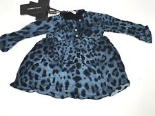 D&G Girl NEW Toddler LEOPARD PRINT BABY DRESS w FAUX PEARLS 18-24M RTL $385 P851