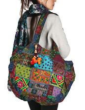 Floral Embroidered Blue Shoulder Tote Bag Boho Cute Hippie Market Shopping