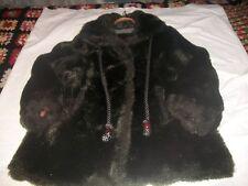 VINTAGE SEARS Fashion Place Faux Fur Coat, BLACK SHINY LINED W/POCKETS SZ14 EUC
