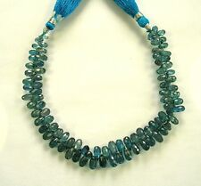 """BLUE GREEN KYANITE faceted drop briolette beads AAA 6-9mm 8"""" strand"""