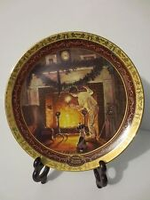 "Awesome New in Box Norman Rockwell Collectible Christmas Plate ""Is He Up There?"""