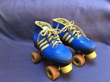 Vintage 1970's Colt Roller Skates Blue Yellow Stripes Unisex Size 5