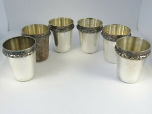ESTATE Set of 6 Sterling Silver Shot Glasses