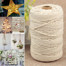 200m 100%25 Natural Cotton String Twisted Cord Beige Craft Macrame Artisan 3mm HOT