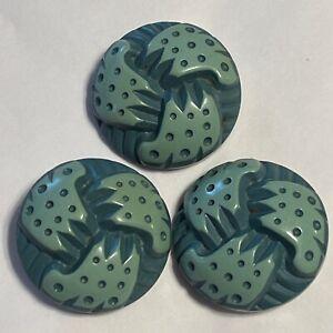 Vintage Buffed Celluloid ButtonTrio Mid Century Green Polka Dot Fun!