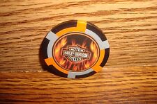 Harley Davidson Motorcycles Poker Chip, Card Guard FLAME'S Harvey Davidson Grey