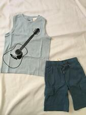 NWT Gymboree GUITAR 6 Shirt Top Knit Cargo Shorts Tank SURF LEGEND Outfit Blue