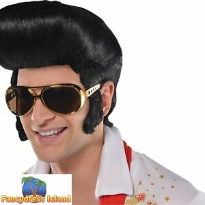50's 1950s Classic The King Elvis Quiff Wig Adult Mens Fancy Dress Costume