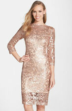 Tadashi Shoji Petal Bloom 3/4 Sleeve Sequin Lace Illusion Sheath Dress 10 $368