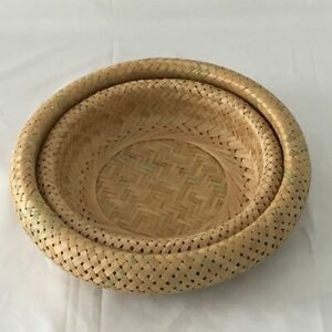 Storage Basket Fruit Dish Rattan Round For Weaving Handmade For Kitchen Food Pic