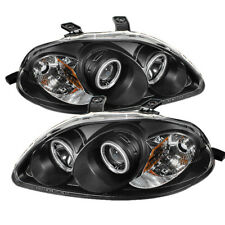 Fit Honda 96-98 Civic Black CCFL Dual Halo LED Projector Headlights HX LX EX SI