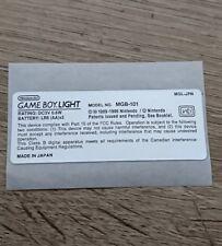 Nintendo Game Boy Light Pocket GBL Model Info MGB-101 Sticker For Gameboy Light