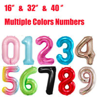 New 16'' 32'' 40'' Inch Numbers Foil Balloons Party Decorations Multiple Colors