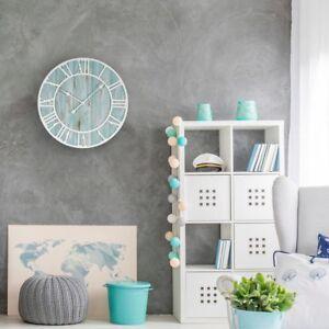 Wall Clock 23.5 in. Round Oversized  Wood Coastal Adult Decorative Quartz Analog