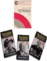 AUTOBIOGRAFIA DEL FASCISMO Renzo De Felice Libro + n.3 VHS MUSSOLINI Storia