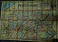 Large 3' x 4' 1900 Color Map of Pennsylvania Scarborough Co Census Index on Back