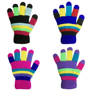 Kids Boys Girls Knitted Striped Patterned Desinged Lined Warm Neon Winter Gloves