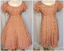 70s Rust Brown and White Gingham Bias Cut Full Skirt Mini Babydoll Dress