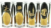 Highball Black Gold Tumblers - New York - London - Paris - Rome - 1960s Cocktail
