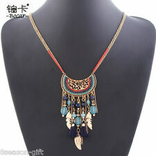 GIFT Occident Brand Punk Women Retro National Leaves Accessory Tassels Necklace