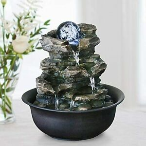 Tabletop Water Fountain with Rolling Ball, Feng Shui Zen Indoor Waterfall