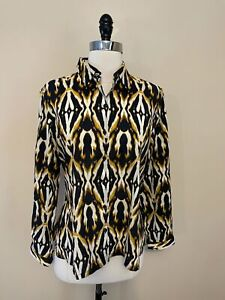 Jones New York Shirt L Petite Ikat Black Gold Lightweight Cotton Blouse Top RTS