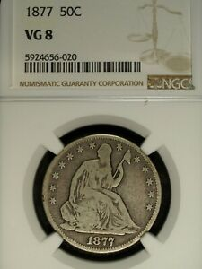 1877 P NGC VG 8 Seated Liberty Silver Half Dollar ☆☆ Great For Sets 020