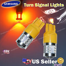 2pcs 7443 7440 T20 Samsung LED Turn Signal Light DRL Projector Lens Amber Yellow