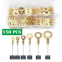 150pcs Brass Ring Cable Wire Non-insulated Crimp Terminals Connectors Car Auto