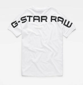 G-Star RAW Men's White Korpaz Graphic Logo Relaxed Fit Short Sleeve T-Shirt