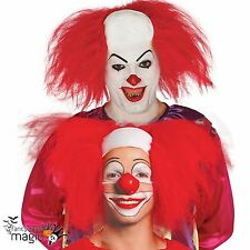 Halloween Horror Clown Fancy Dress Costume Bald Cap Headpiece with Red Hair Wig