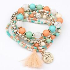 Woman Hot Beads Coin Tassel Bracelets Colorful Metal Bracelet Multi-layer