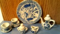 VTG MINIATURE  DOLLHOUSE COLLECTIBLE BLUE & WHITE CHINA TEA SET-10 PC-FREE SHIP