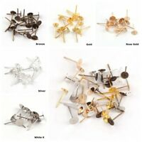 200Pcs Pack Earring Pin Jewelry Making Supplies Blank Tray Piercing Ear Stud DIY