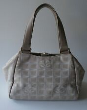 Auth Chanel Travel Line Beige Jacquard & Leather Hand Bag