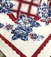 Vintage Printed Small Tablecloth Floral Red Blue Cotton 40x36