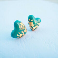 Antique Silver Plated Natural GEMSTONE Turquoise Heart Stud Bridel Earrings
